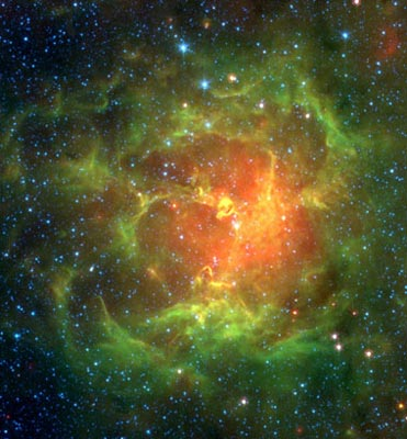 Infrared view of M20, the Trifid Nebula